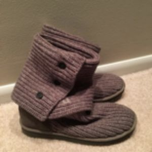 UGG CABLE KNIT WOMENS BOOTS SIZE 9 GRAY